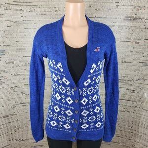 5/$25 Hollister Blue & White Sweater Cardigan XS
